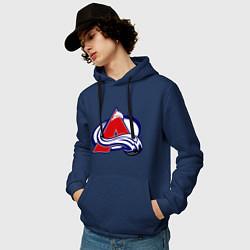 Толстовка-худи хлопковая мужская Colorado Avelanche цвета тёмно-синий — фото 2