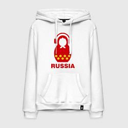 Толстовка-худи хлопковая мужская Russia dj цвета белый — фото 1