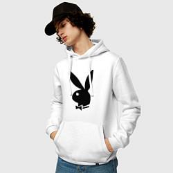 Толстовка-худи хлопковая мужская Playboy цвета белый — фото 2