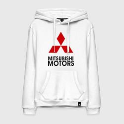 Толстовка-худи хлопковая мужская Mitsubishi цвета белый — фото 1