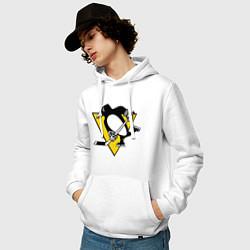 Толстовка-худи хлопковая мужская Pittsburgh Penguins: Malkin 71 цвета белый — фото 2