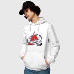 Толстовка-худи хлопковая мужская Colorado Avelanche: Sakic цвета белый — фото 2