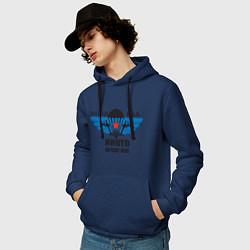 Толстовка-худи хлопковая мужская ВДВ цвета тёмно-синий — фото 2