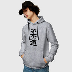 Толстовка-худи хлопковая мужская Дзюдо: иероглиф цвета меланж — фото 2