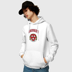 Толстовка-худи хлопковая мужская Harvard university цвета белый — фото 2