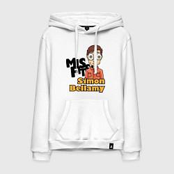 Толстовка-худи хлопковая мужская Misfits: Simon Bellamy цвета белый — фото 1