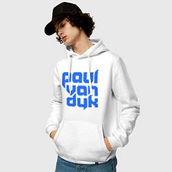 Толстовка-худи хлопковая мужская Paul van Dyk: Filled цвета белый — фото 2
