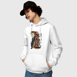 Толстовка-худи хлопковая мужская Zags цвета белый — фото 2
