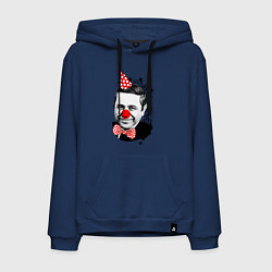 Толстовка-худи хлопковая мужская Евгений Петросян клоун цвета тёмно-синий — фото 1