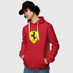 Толстовка-худи хлопковая мужская Ferrari SJ цвета красный — фото 2