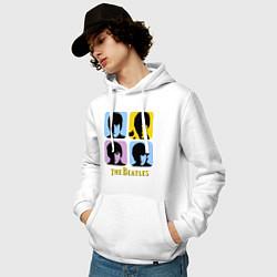 Толстовка-худи хлопковая мужская The Beatles: pop-art цвета белый — фото 2