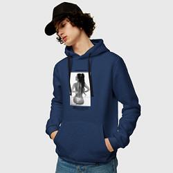 Толстовка-худи хлопковая мужская Monica Bellucci: Donna Famosa цвета тёмно-синий — фото 2