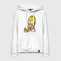 Толстовка-худи хлопковая мужская Гомер с Пончиком цвета белый — фото 1