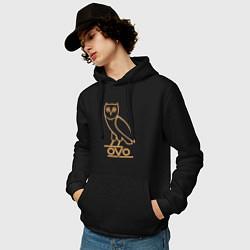 Толстовка-худи хлопковая мужская OVO Owl цвета черный — фото 2