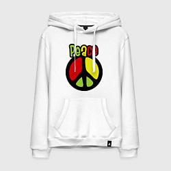 Толстовка-худи хлопковая мужская Peace tricolor цвета белый — фото 1