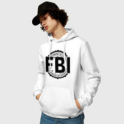 Толстовка-худи хлопковая мужская FBI Agency цвета белый — фото 2
