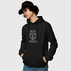 Толстовка-худи хлопковая мужская Bear Inside цвета черный — фото 2