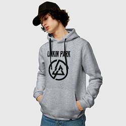 Толстовка-худи хлопковая мужская Linkin Park цвета меланж — фото 2