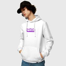 Толстовка-худи хлопковая мужская Twitch Logo цвета белый — фото 2