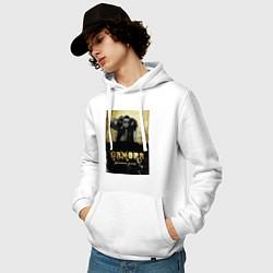 Толстовка-худи хлопковая мужская Гамора: дыхание улиц цвета белый — фото 2