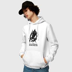 Толстовка-худи хлопковая мужская The Hunger Games цвета белый — фото 2
