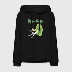 Толстовка-худи хлопковая мужская Rick and Morty: Portal цвета черный — фото 1