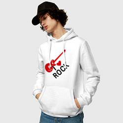 Толстовка-худи хлопковая мужская Я люблю рок цвета белый — фото 2