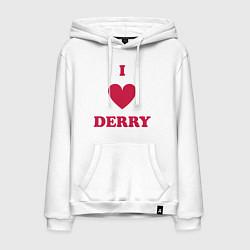 Толстовка-худи хлопковая мужская I Love Derry цвета белый — фото 1