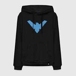 Толстовка-худи хлопковая мужская Nightwing цвета черный — фото 1