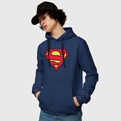 Толстовка-худи хлопковая мужская Superman logo цвета тёмно-синий — фото 2