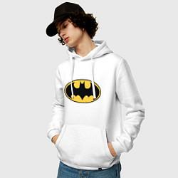Толстовка-худи хлопковая мужская Batman цвета белый — фото 2