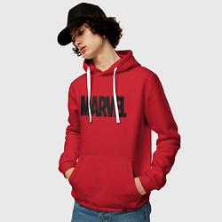 Толстовка-худи хлопковая мужская MARVEL цвета красный — фото 2
