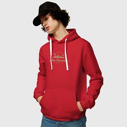 Толстовка-худи хлопковая мужская Алтай Gold Classic цвета красный — фото 2