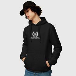 Толстовка-худи хлопковая мужская BALENCIAGA цвета черный — фото 2