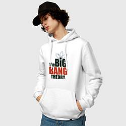 Толстовка-худи хлопковая мужская Big Bang Theory logo цвета белый — фото 2