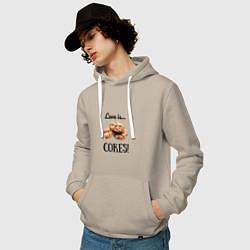 Толстовка-худи хлопковая мужская Печеньки цвета миндальный — фото 2
