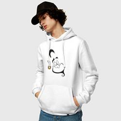 Толстовка-худи хлопковая мужская Джинн цвета белый — фото 2