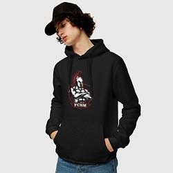 Мужская толстовка с капюшоном с принтом FCSM, цвет: черный, артикул: 10275772700010 — фото 2