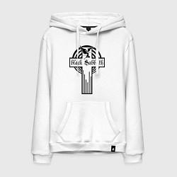 Толстовка-худи хлопковая мужская Black Sabbath Cross цвета белый — фото 1