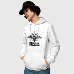 Толстовка-худи хлопковая мужская Russia цвета белый — фото 2