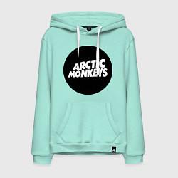 Толстовка-худи хлопковая мужская Arctic Monkeys Round цвета мятный — фото 1
