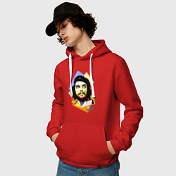 Толстовка-худи хлопковая мужская Che Guevara Art цвета красный — фото 2