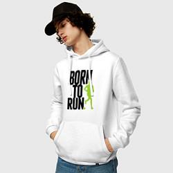 Толстовка-худи хлопковая мужская Рожден для бега цвета белый — фото 2
