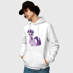 Толстовка-худи хлопковая мужская Пони Сумеречная Искорка цвета белый — фото 2