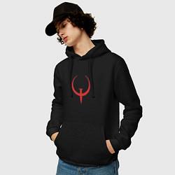 Толстовка-худи хлопковая мужская Quake цвета черный — фото 2
