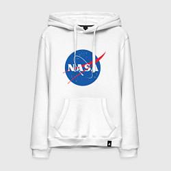 Толстовка-худи хлопковая мужская NASA: Logo цвета белый — фото 1
