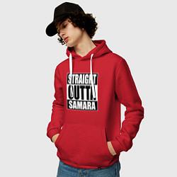 Толстовка-худи хлопковая мужская Straight Outta Samara цвета красный — фото 2