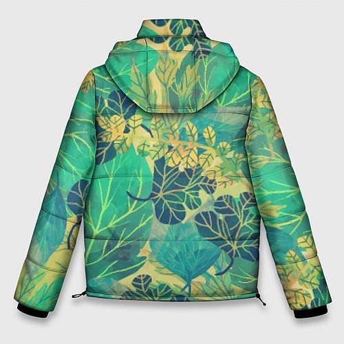 Мужская зимняя куртка Узор из листьев / 3D-Черный – фото 2