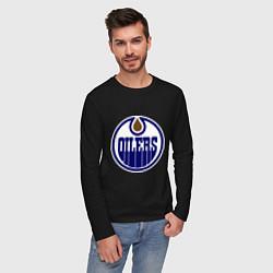 Лонгслив хлопковый мужской Edmonton Oilers цвета черный — фото 2