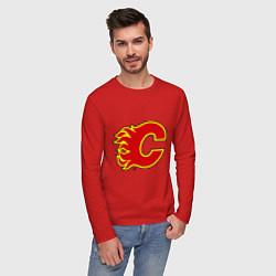 Лонгслив хлопковый мужской Calgary Flames цвета красный — фото 2